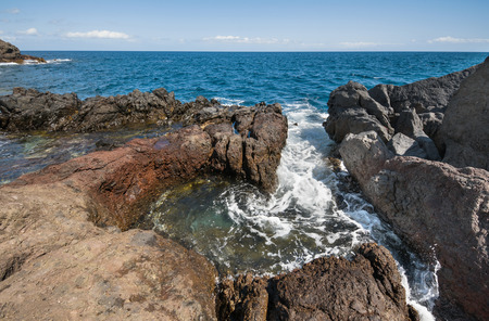 Volcanic coastline landscape. South Tenerife coastline, Canary island, Spain.