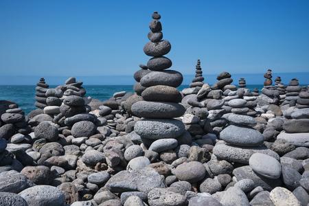 Huge amount of zen stones piled in the beach, Puerto de la Cruz, Tenerife, Spain.