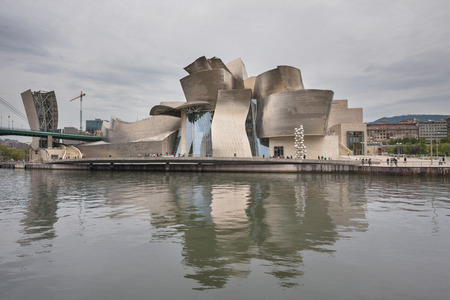 Bilbao, Spain - October 16, 2016: view of modern and contemporary art Guggenheim Museum, designed by architect Frank Gehry and inaugurated in October 1997.