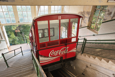 centenary: SAN SEBASTIAN, SPAIN - OCTOBER 17: Ancient centenary funicular train of Igueldo mount on October 17,2016 in San Sebastian, Basque Country, Spain.