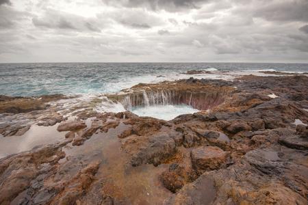 blowhole: Blowhole, Bufadero de la Garita in Telde, Gran Canaria, Canary island, Spain. Stock Photo