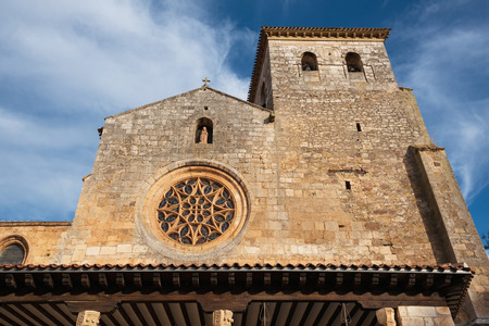 San Cosme Collegiate Church, Covarrubias, Burgos, Spain. It is a 15th century Gothic church. Stock Photo
