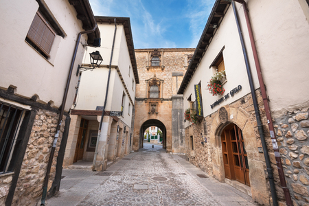 stone of destiny: COVARRUBIAS, SPAIN - OCTOBER 11: Old medieval street on October 11,2016 in the ancient medieval village of Covarrubias, Burgos, Spain.