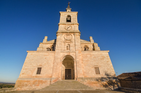 castilla: Scenic view of San Pedro church at sunset, Lerma, Burgos, Spain.