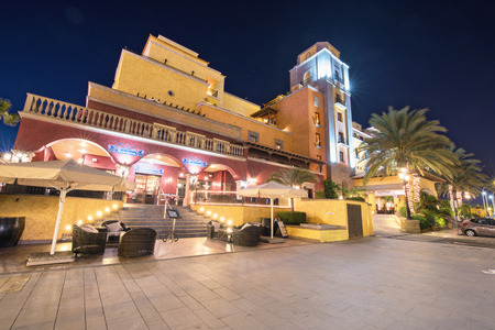 LAS AMERICAS, SPAIN - FEBRUARY 29: Scenic night view of a hotel resort on February 29, 2016 in Las Americas, Tenerife, Canary island, Spain.