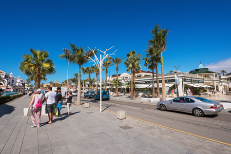 americas: TENERIFE, SPAIN - FEBRUARY 23. Shopping street in Las Americas on February 23, 2016 in Adeje, Tenerife, Spain.  Las Americas is one of the most popular and touristic resorts, plenty of restaurants and shopping stores in Tenerife South area.