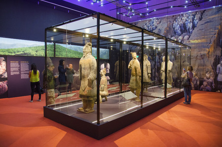 TAMPERE, FINLAND - JUNE 24: Terracotta army exhibition on June 24, 2016 in Vappriikki museum centre, Tampere, Finland. Also known as the eighth wonder of the world, the terracotta army is a UNESCO world heritage site.