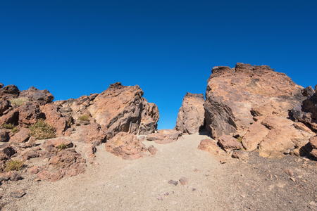 Teide National park valley, volcanic landscape, Tenerife, Canary island, Spain. Stock Photo