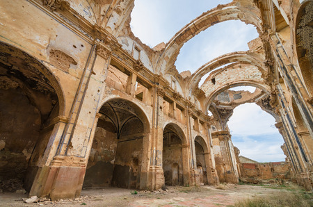 spanish civil war: Ruins of an old church destroyed during the spanish civil war in Belchite, Saragossa, Spain.