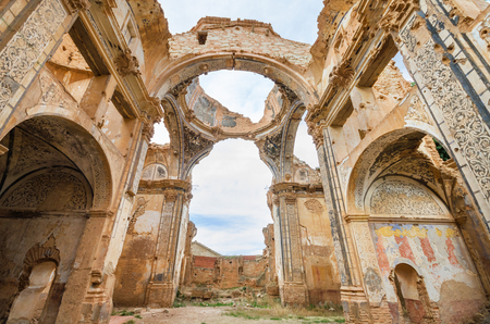 Ruins of an old church destroyed during the spanish civil war in Belchite, Saragossa, Spain. Stock Photo - 65902611