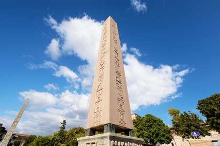 obelisk stone: The obelisk of theodosius in Istanbul, Turkey.