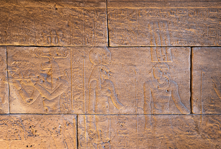 hieroglyphic: Real Hieroglyphic carvings on the walls of an ancient egyptian temple.