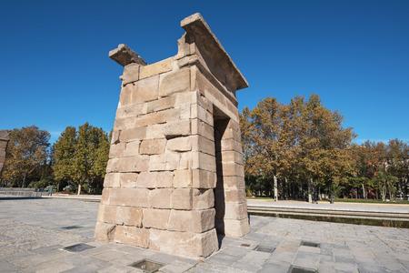 Famous Landmark Debod, egyptian temple in Madrid, Spain. Stock Photo