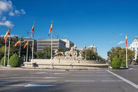 Famous cibeles fountain landmark in Cibeles square, Madrid, Spain. Editorial