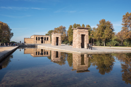 MADRID, SPAIN - NOVEMBER 13: Tourist visiting Famous Landmark Debod, egyptian temple on November 13, 2016 in Madrid, Spain.