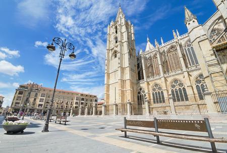religiosity: LEON, SPAIN - AUGUST 22: Tourist visiting famous landmark Leon Cathedral, Castilla y Leon, Spain on August 22, 2014.Leon Cathedral is a masterpiece of Gothic style.