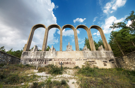 ALCOCERO DE MOLA,  SPAIN - AUGUST 28: Monument in memory of franchist General Emilio Mola on august 28, 2014. was built in 1939. Emilio Mola died in a plane crash near Alcocero in 1937 during the spanish civil war.
