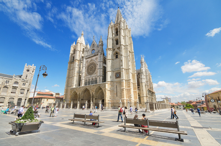 LEON, SPAIN - AUGUST 22: Tourist visiting famous landmark Leon Cathedral, Castilla y Leon, Spain on August 22, 2014.Leon Cathedral is a masterpiece of Gothic style.