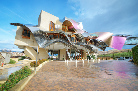 El ciego, Spain- January 10, 2014: Winery of Marques de Riscal on January 10, 2014 in Elciego, Basque Country, Spain. This modern winery was designed by world famous architect Frank Gehry. Produce one of the best wine of the world. Editorial