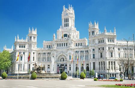 palacio de comunicaciones: Plaza de Cibeles and Palacio de Comunicaciones, famous landmark in Madrid, Spain. Stock Photo