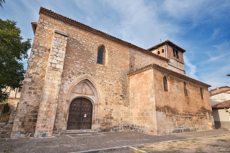arcades: Old medieval church Saint Thomas in the ancient medieval village of Covarrubias, Burgos, Spain. Stock Photo