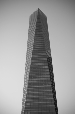cuatro: MADRID, SPAIN-4 MAY: Monochrome picture of Cuatro torres financial center in Madrid on 4 May, 2013. These buildings are the highest skyscrapers in Spain with a height of 250 meters.