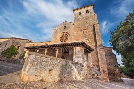stone of destiny: San Cosme Collegiate Church, Covarrubias, Burgos, Spain. It is a 15th century Gothic church. Stock Photo