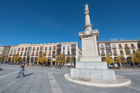 Avila, Spain - October 27: Tourist visiting Santa Teresa square on October 27, 2016 in the ancient medieval city of Avila, Spain.