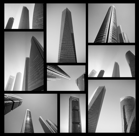 MADRID, SPAIN - MAY 4, 2013: Collage of Cuatro Torres modern business center in Madrid, in  black and white on May 4, 2013. Abstract Business concept. High resolution file.