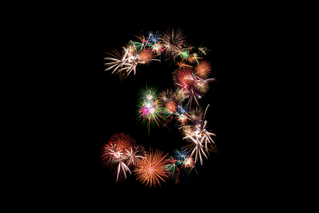 Number 3. Number alphabet made of real fireworks. See other numbers in my portolio.
