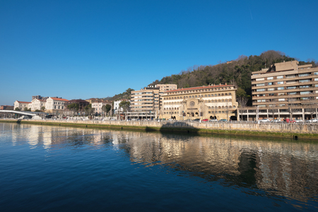 Bilbao downtown cityscape Nervion river , Bilbao, Basque Country, Spain. Stock Photo