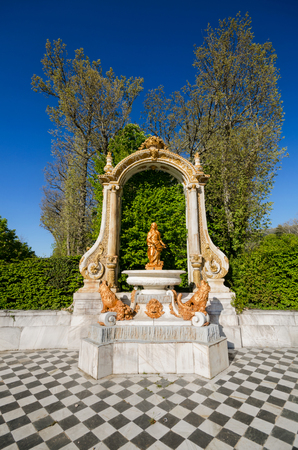 angels fountain: Fountain at palace gardens at La granja de San Ildefonso, Segovia, Spain. Stock Photo