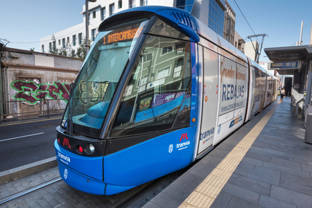 tramcar: Santa Cruz De Tenerife, Spain - August 20, 2016: Modern Alstom tram at the station on August 20,2016 in  Tenerife, Canary islands, Spain. Editorial