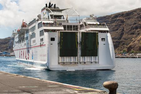 La Palma, Spain - September 11,2016: Armas ferry docking at La Palma Harbor on September 11,2016 in La Palma, Canary islands, Spain.