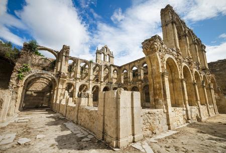 Ruins of an ancient abandoned monastery in Santa Maria de rioseco, Burgos, Spain. Stock Photo