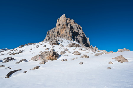 Winter Landscape in Picos de Europa mountains, Cantabria, Spain.