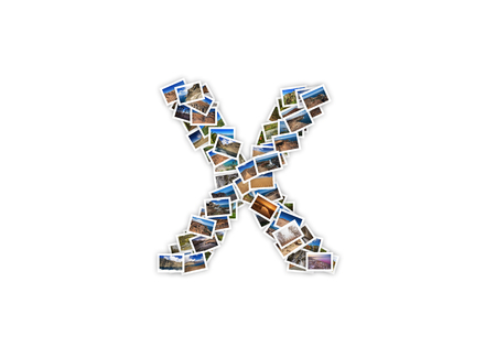 Letter X uppercase font shape alphabet collage made of my best landscape photographs. Version 1.
