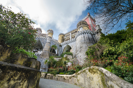 Facade of Pena national palace in Sintra, Portugal.
