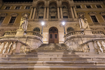 Night scene of Bilbao city hall building, Basque Country, Spain. Editorial