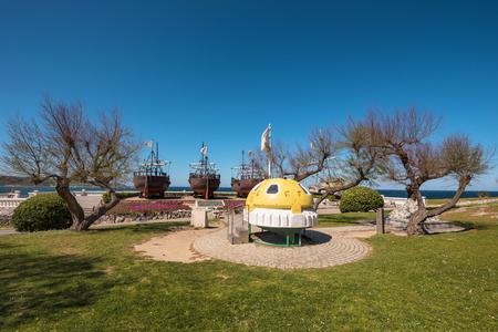 Santander, Spain - April 20, 2017: Monuments to sea exploration in La Magdalena park, in Santander, Cantabria, Spain