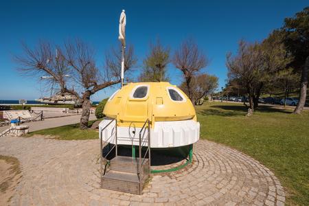 Santander, Spain - April 20, 2017: Sea lifeboat capsule showed in La Magdalena park on April 20, 2017 in Santander, Cantabria, Spain.