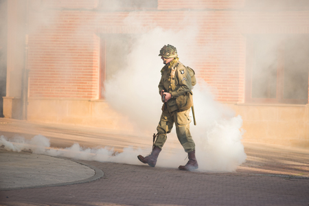 Belorado, Spain - May 6, 2017: American soldier during World war 2 reenactment,  Military historical reconstruction of the battle of Salerno 1943, on May 6, 2017 during Expohistorica festival in Belorado, Burgos, Spain.