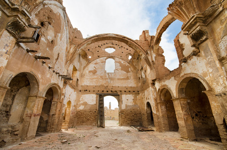 bombed city: Ruins of an old church destroyed during the spanish civil war in Belchite, Saragossa, Spain.