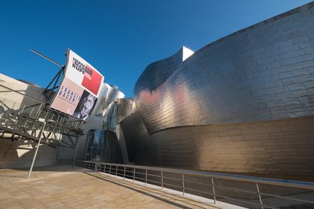 Bilbao, Spain - January 4, 2017: Entrance of Guggenheim museum on January 4, 2017 in Bilbao, Basque country, Spain.