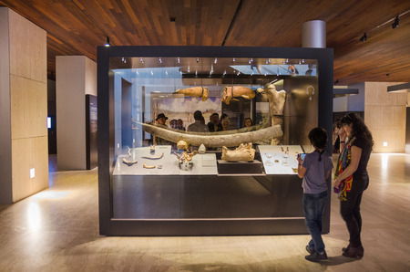Madrid, Spain - October 18, 2014: Visitors at Archeological National museum in Madrid, Spain.