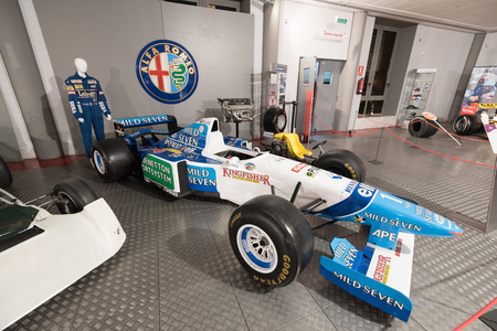 Salamanca, Spain - December 29 2017: Michael Schumacher Benetton Renault 1995 formula 1 car in museum of the history of automotion, in Salamanca, Spain. Its the first opened museum to the history of automotion in Spain.