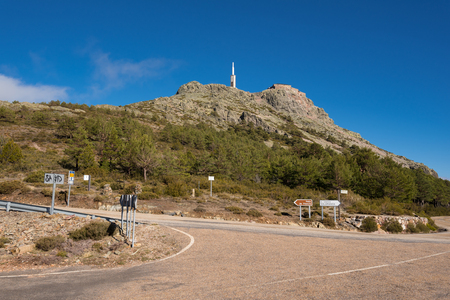 Mountain landscape, Road sign indication to Pena de Francia famous destination in Salamanca, Spain.