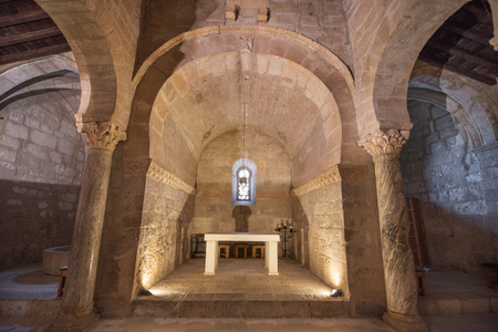 Banos de Cerrato, Spain - November 9, 2017: Interior of St. Juan church on November 9, 2017. is the oldest spanish church dated from seventh century, Palencia, Spain. Editorial