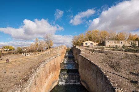Canal de Castilla, famous Landmark in Fromista, Palencia, Castilla y Leon, Spain. Stock Photo