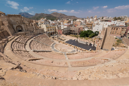 Roman amphitheater in Cartagena city, Murcia, Spain.